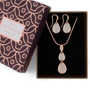 Rose gold crystal pebble necklace and earring set