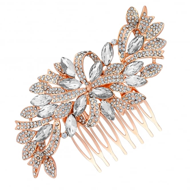 Rose Gold Crystal Ribbon Swirl Hair Comb