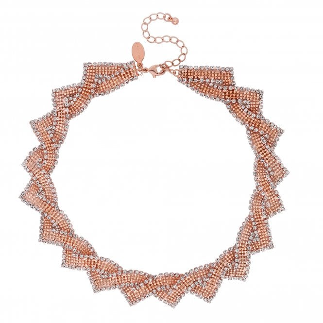 Rose Gold Crystal Twist Statement Necklace