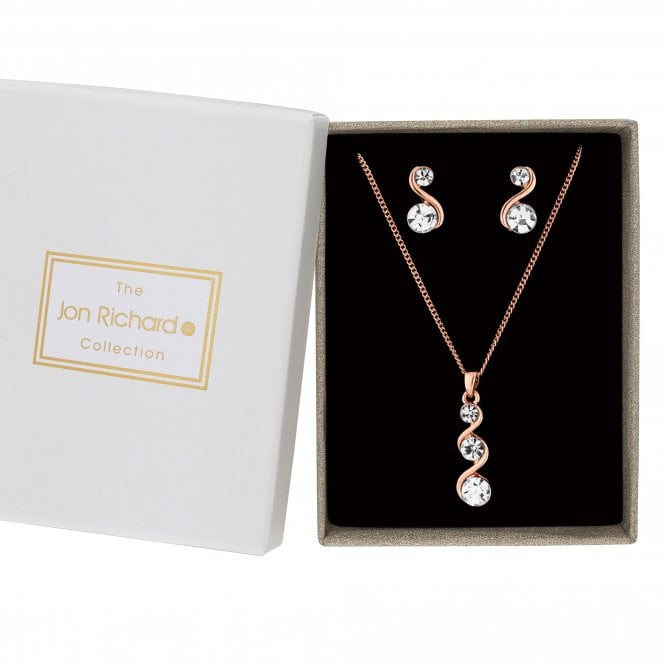 Rose Gold Crystal Wave Jewellery Set In A Gift Box