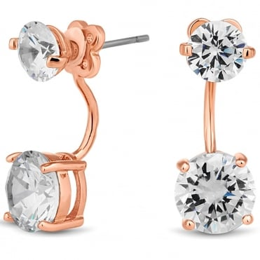 Rose gold cubic zirconia front and back earring