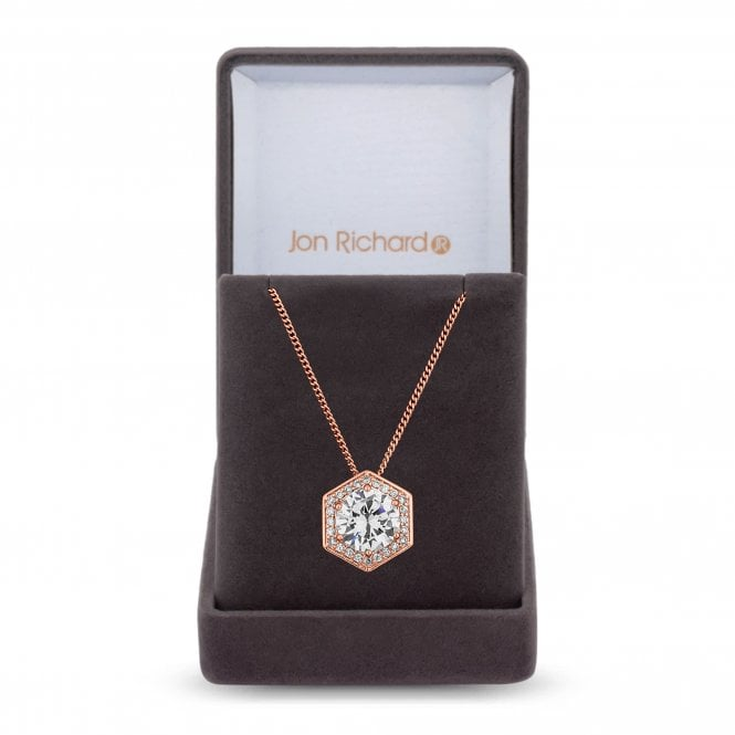 Rose Gold Cubic Zirconia Hexagon Pendant Necklace
