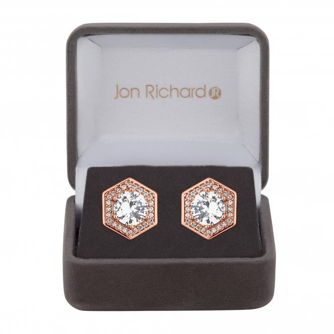 Rose Gold Cubic Zirconia Hexagon Stud Earring