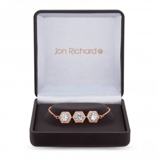 Rose Gold Cubic Zirconia Hexagon Toggle Bracelet