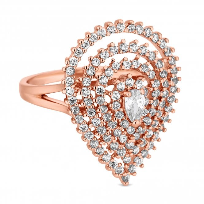 Rose Gold Cubic Zirconia Peardrop Ring