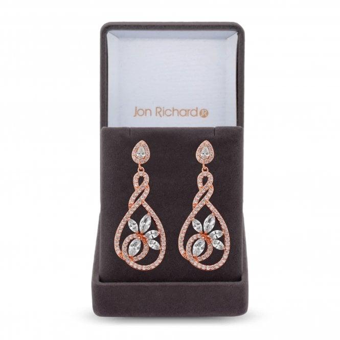 Rose Gold Cubic Zirconia Twist Drop Earring