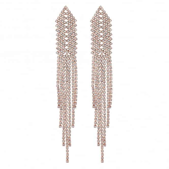 Rose Gold Diamante Multi Row Drop Earring