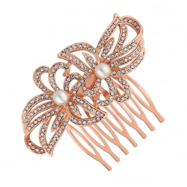 Rose gold double flower hair comb