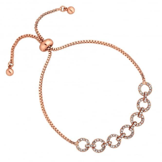 Rose Gold Pave Circle Toggle Bracelet