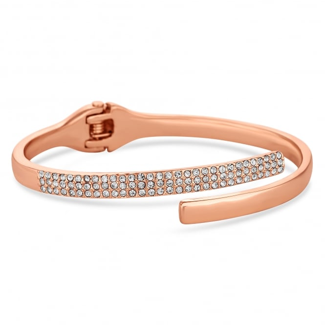 Rose Gold Pave Cross Over Cuff Bangle