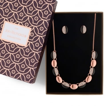 Rose gold pave link necklace and earring set