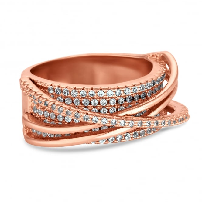 Rose gold pave swirl ring