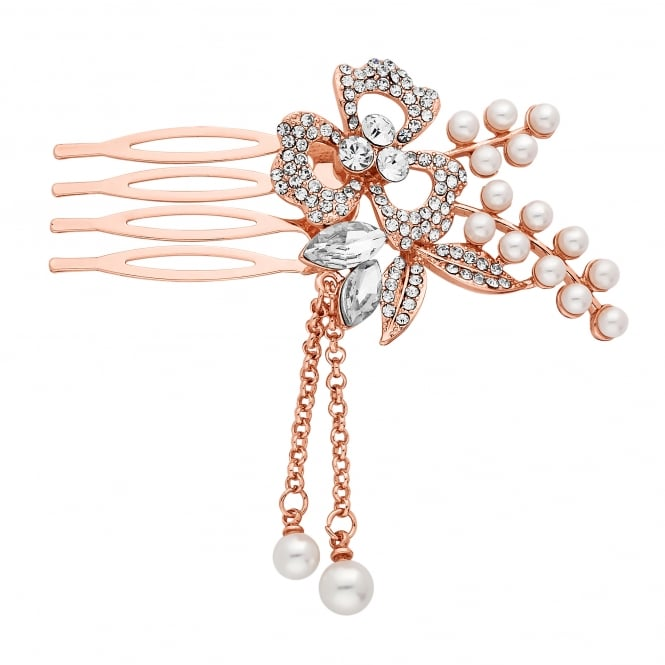 Rose Gold Pearl And Flower Mini Hair Comb