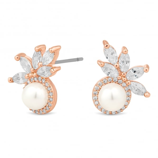 Rose gold pearl and leaf cluster earring
