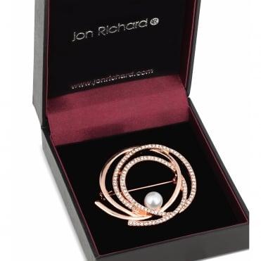 Rose gold pearl centre crystal swirl brooch