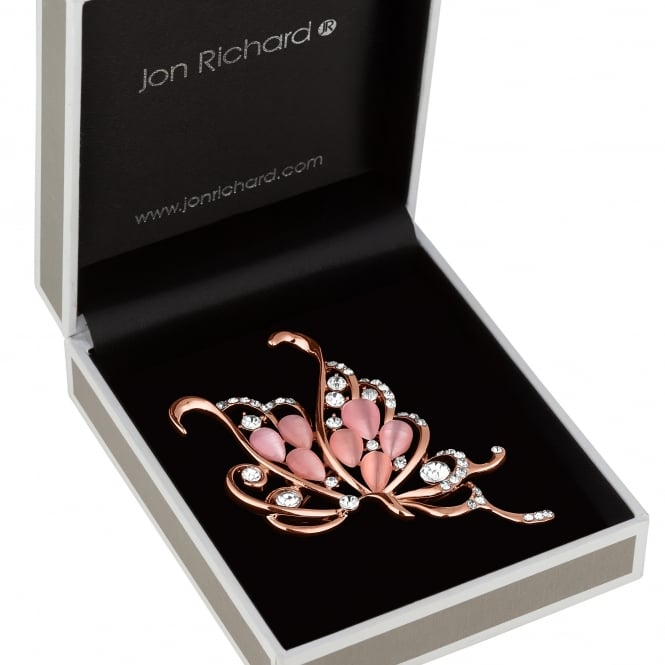Jon Richard Rose Gold Pink Crystal Butterfly Brooch In A Gift Box