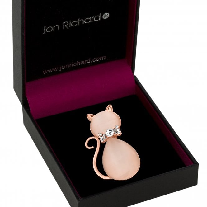 Rose Gold Pink Crystal Cat Brooch