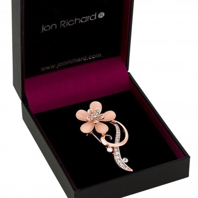 Rose Gold Pink Crystal Flower Brooch