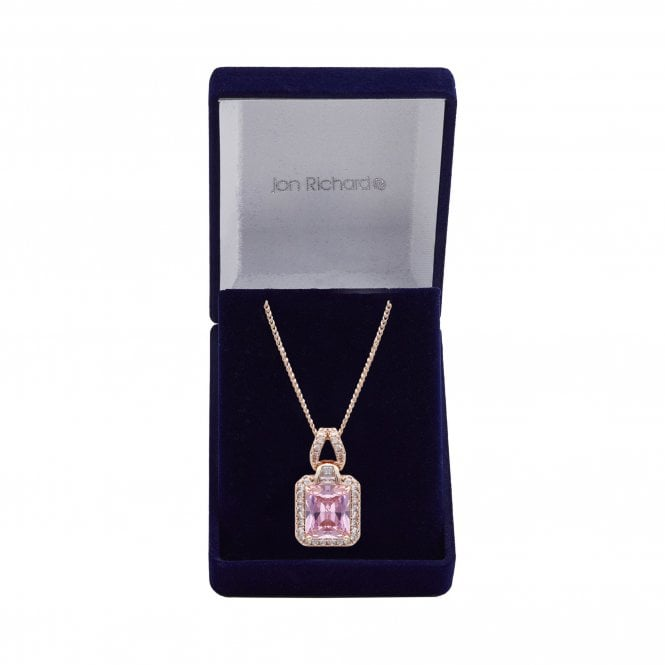 Jewellery|Women's Rose Gold Plate Cubic Zirconia Pink Small Pendant - Gift Boxed