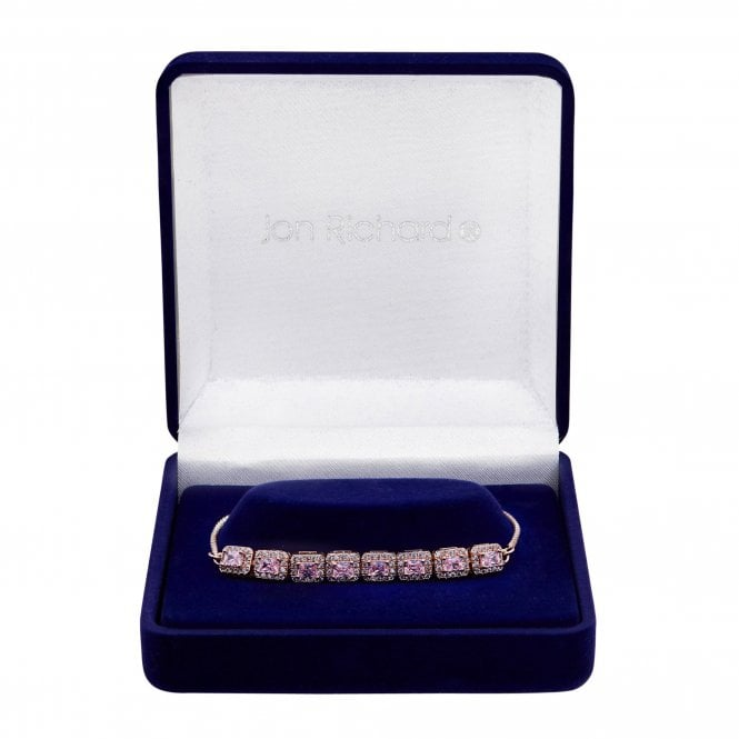 Jewellery|Bracelets Rose Gold Plate Cubic Zirconia Pink Toggle Bracelet - Gift Boxed