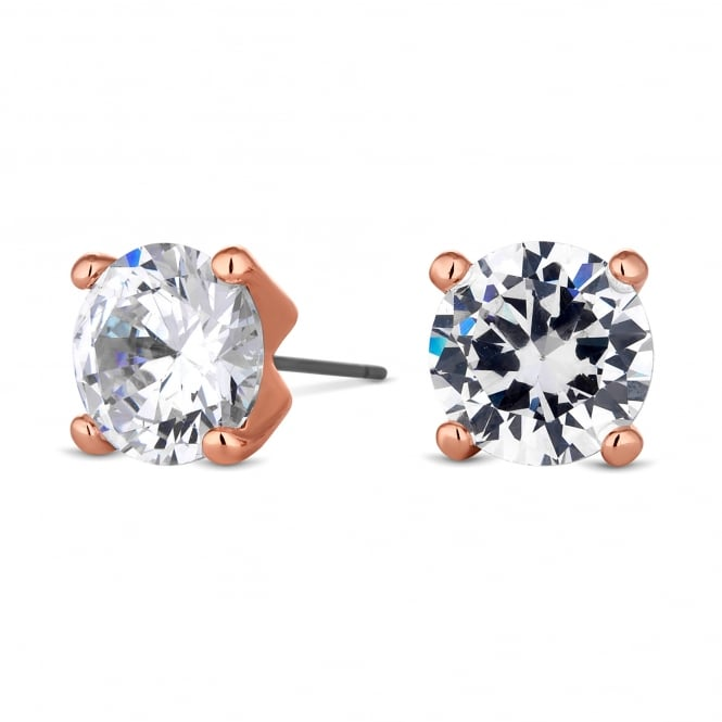Rose Gold Plated 10mm Round Cubic Zirconia Stud Earring