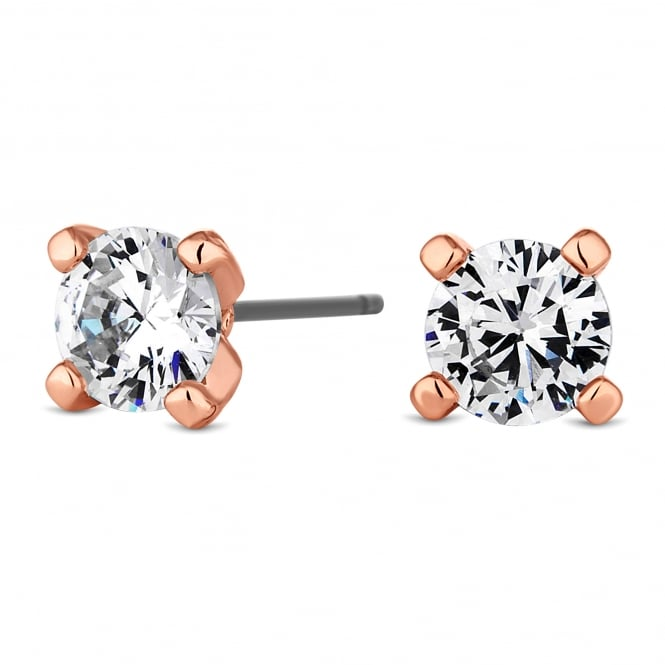 Jon Richard Rose Gold Plated 6mm Round Cubic Zirconia Stud Earring