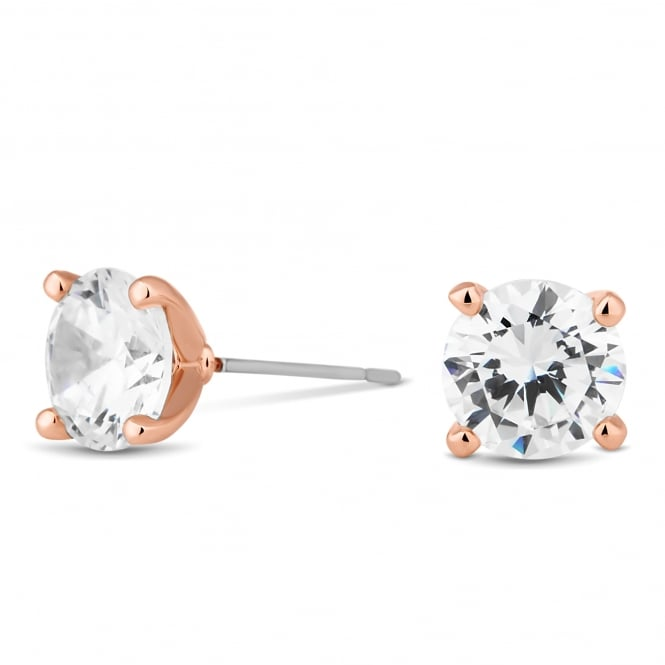 Rose Gold Plated 8mm Round Cubic Zirconia Stud Earring