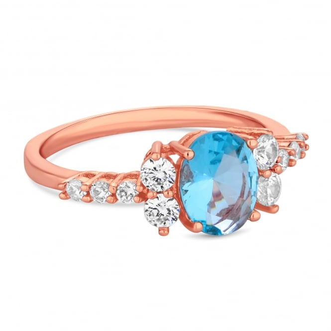 Jon Richard Rose Gold Plated Blue Aqua Cubic Zirconia Cluster Ring