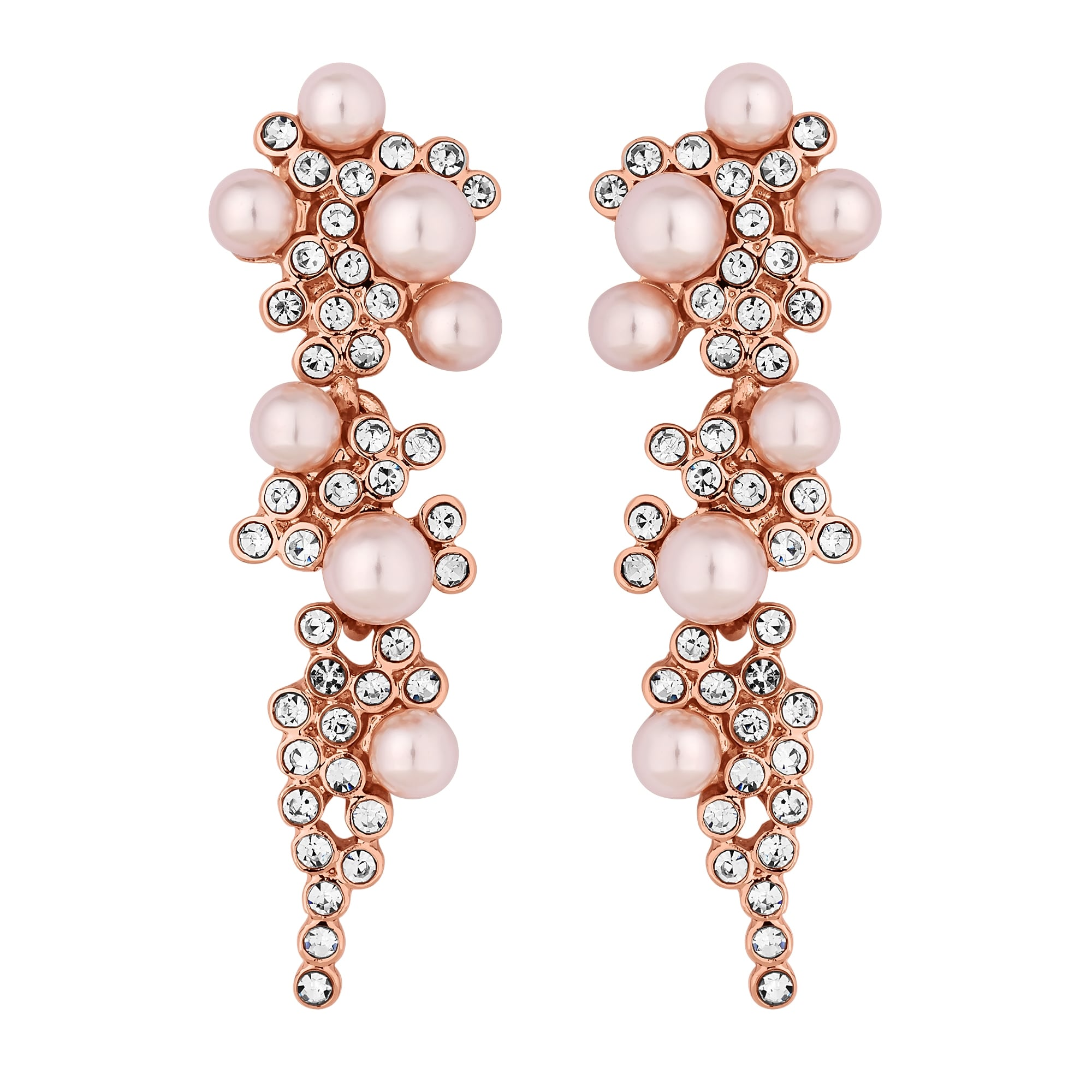 Rose Gold Plated Blush Pink Pearl Cer Drop Earring