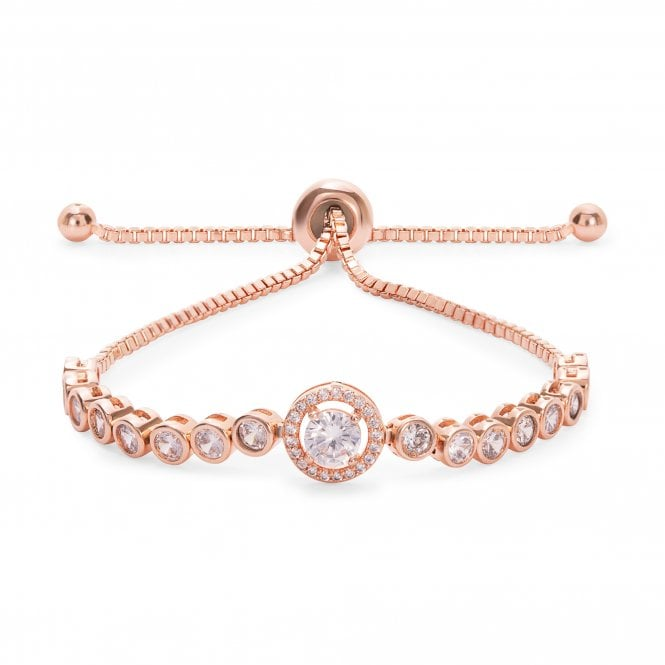 Image of Rose Gold Plated Center Stone Tennis Toggle Bracelet