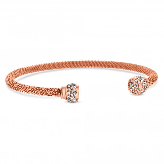 Rose Gold Plated Clear Crystal Braided Band Crystal End Cuff Bracelet