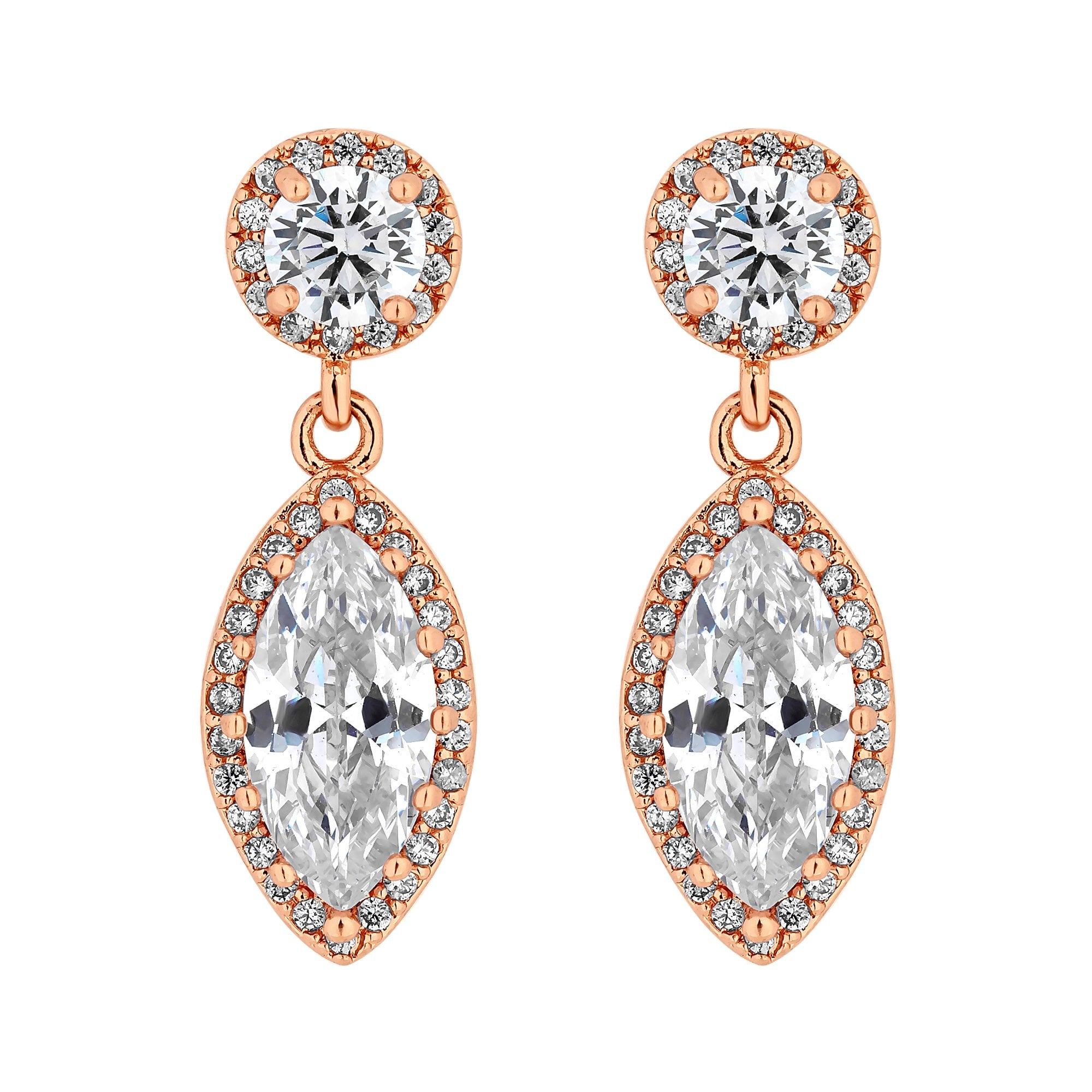 95230085b46e4 Rose Gold Plated Clear Cubic Zirconia Teardrop Drop Earring
