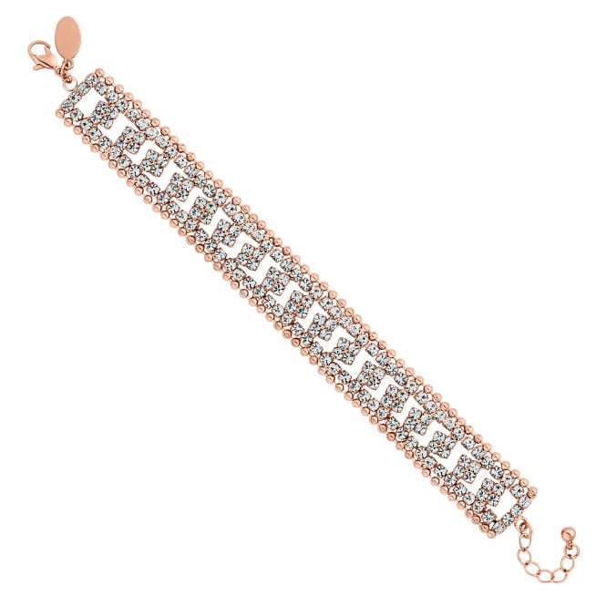 Rose Gold Plated Crystal And Chain Bracelet