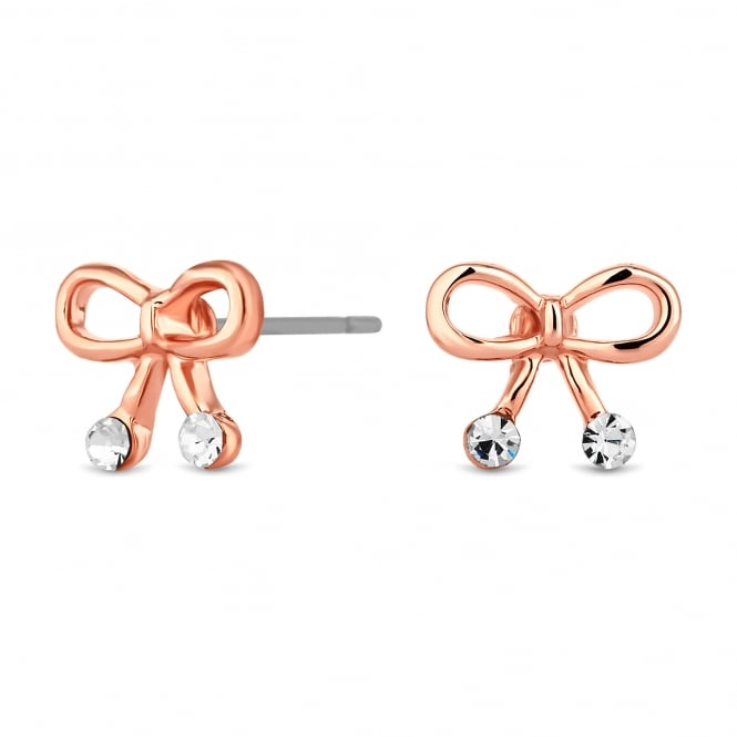 Rose Gold Plated Crystal Bow Stud Earring