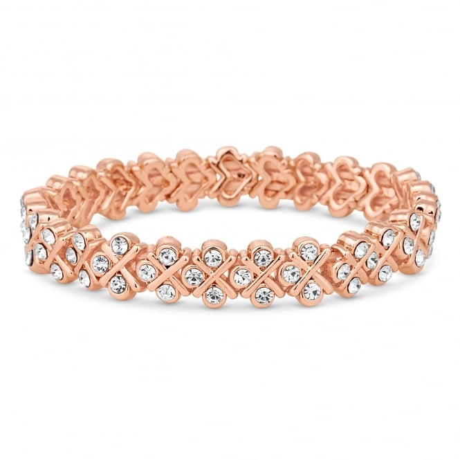 Jon Richard Rose Gold Plated Crystal Cross Stretch Bracelet