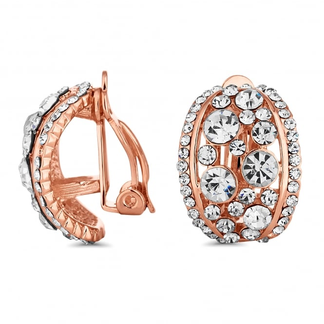 Rose Gold Plated Crystal Curved Half Hoop Clip On Earring