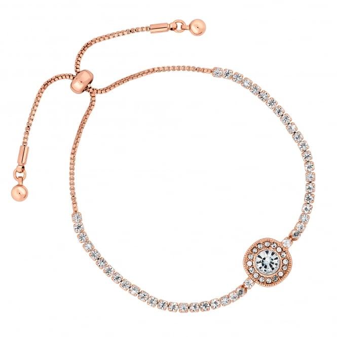 Rose Gold Plated Crystal Halo Toggle Bracelet