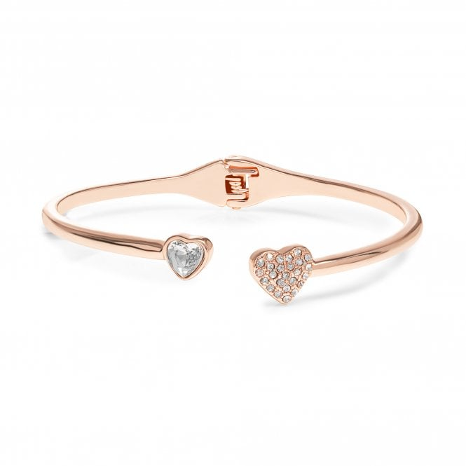 Rose Gold Plated Crystal Heart Bangle