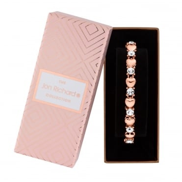 Rose Gold Plated Crystal Heart Bracelet In A Gift Box