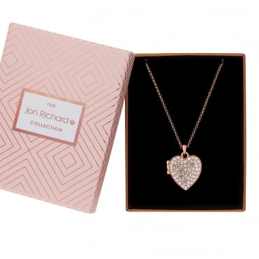 Rose Gold Plated Crystal Heart Locket Necklace In A Gift Box