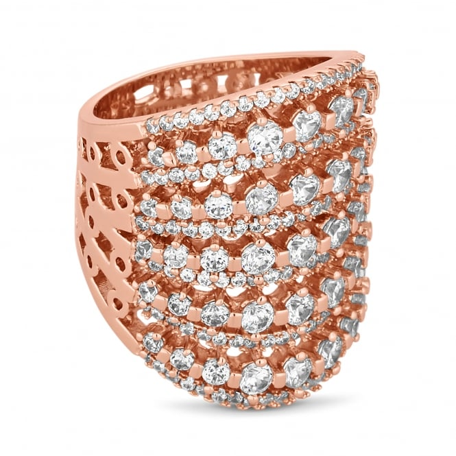 Rose Gold Plated Crystal Lattice Ring
