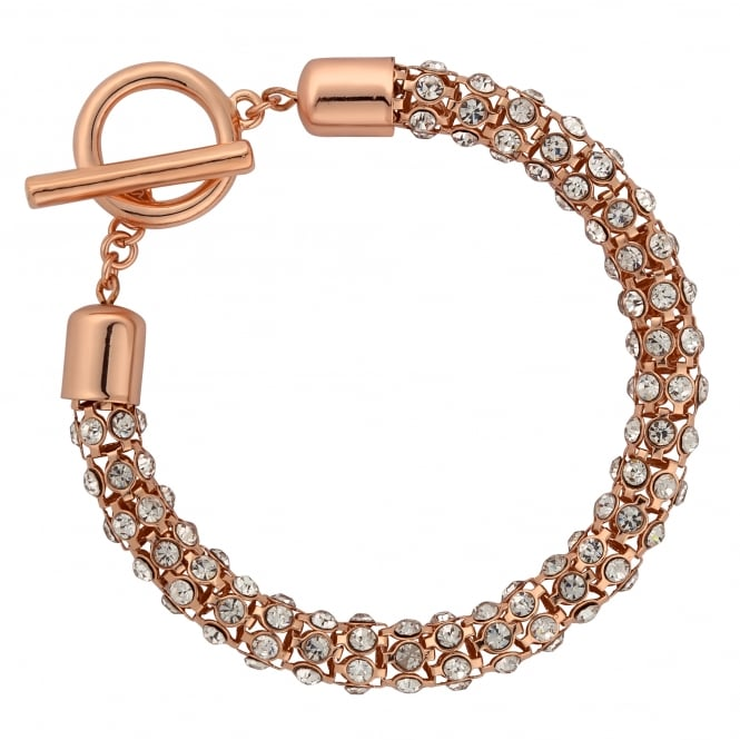 Rose Gold Plated Crystal Mesh T Bar Bracelet