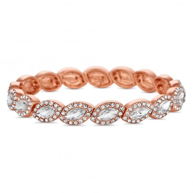 Rose Gold Plated Crystal Navette Stretch Bracelet