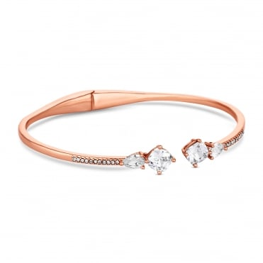 Rose Gold Plated Crystal Pave Arrow Cuff Bangle