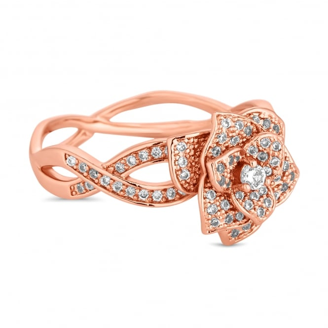 Rose Gold Plated Crystal Pave Floral Twist Ring