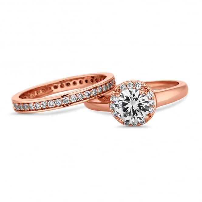 Rose Gold Plated Crystal Stacking Ring Set