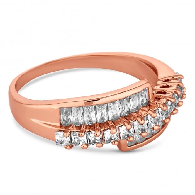 Rose Gold Plated Crystal Twist Ring