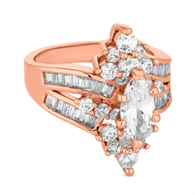 Rose Gold Plated Cubic Zirconia Baguette Cluster Ring