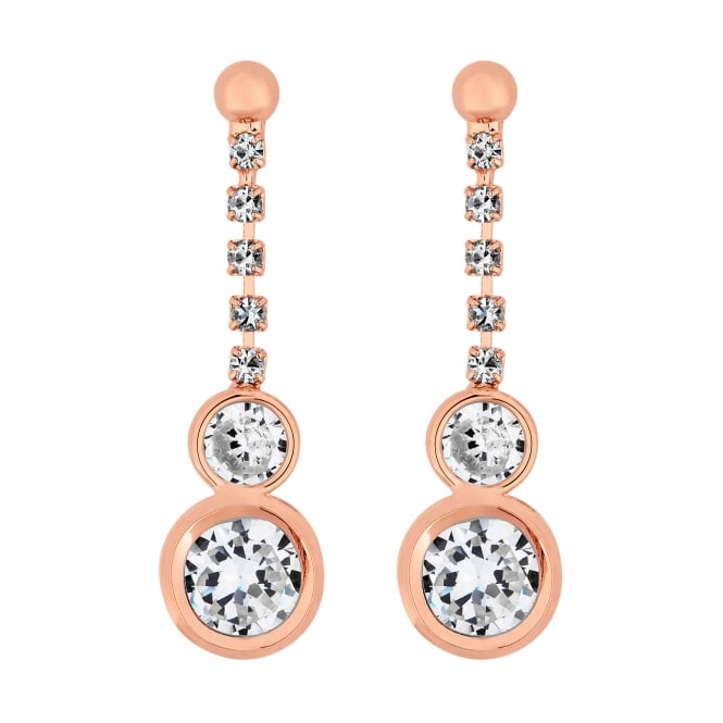 Rose Gold Plated Cubic Zirconia Circle Drop Earring