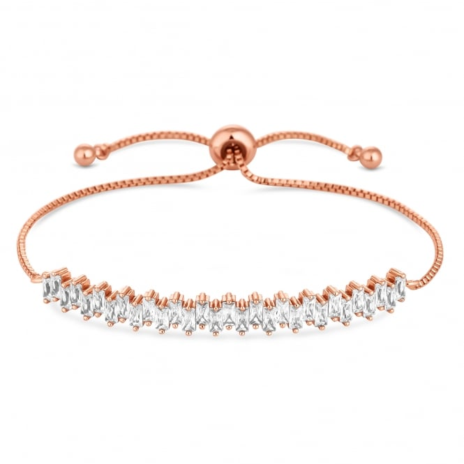 Rose Gold Plated Cubic Zirconia Cluster Toggle Bracelet